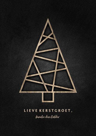 Kerstkaart met houten kerstboom en krijtbord achtergrond 3