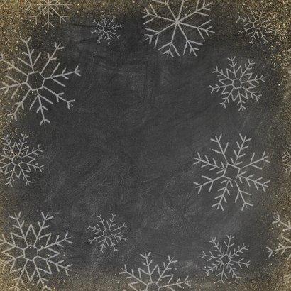 Kerstkaart met houten ster, Merry Christmas en sneeuwvlokken Achterkant