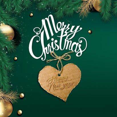 Kerstkaart met hulst en kerstfoto 2