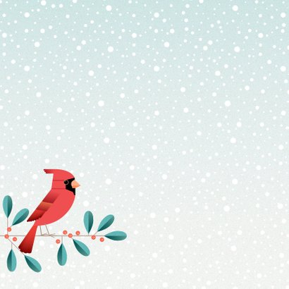 Kerstkaart met kardinaal op mistletoe 2