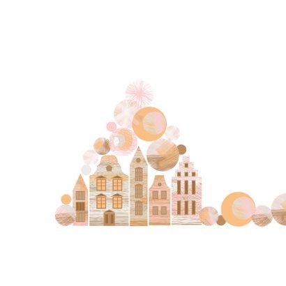 Kerstkaart met kerstballen en Amsterdam huisjes  2