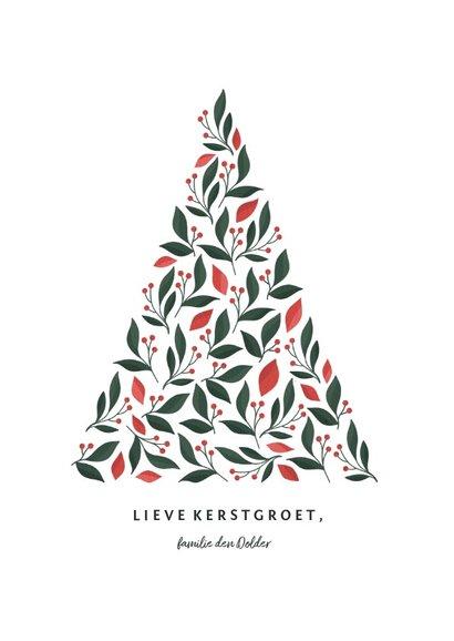 Kerstkaart met kerstboom botanisch licht 3