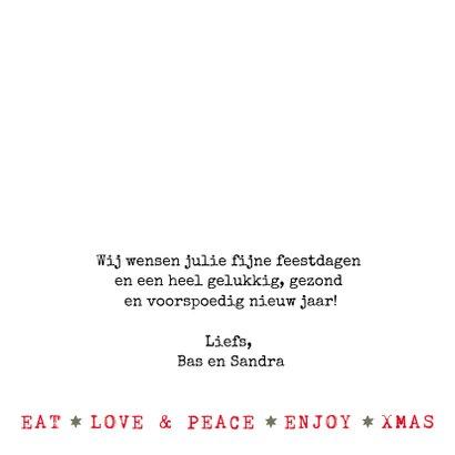 Kerstkaart  met kerstillustraties en teksten (groen/wit) 3