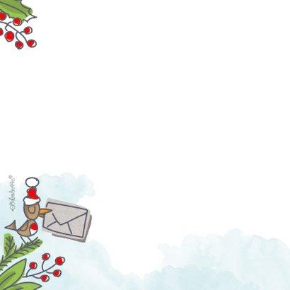Kerstkaart met kerstkus in een envelop met foto 2