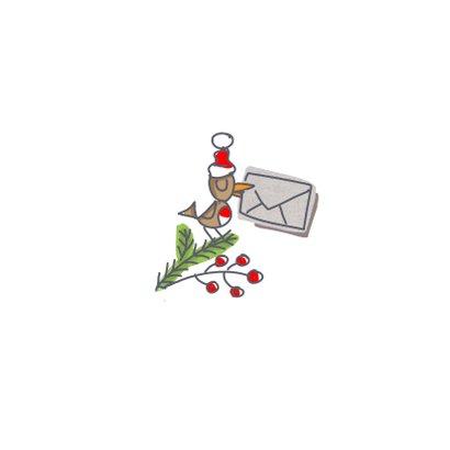 Kerstkaart met kerstkus in een envelop met foto Achterkant
