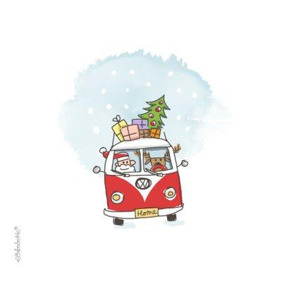 Kerstkaart met kerstman en 3 rendieren in vw busje 2
