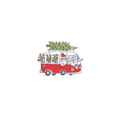 Kerstkaart met kerstman en 3 rendieren in vw busje Achterkant