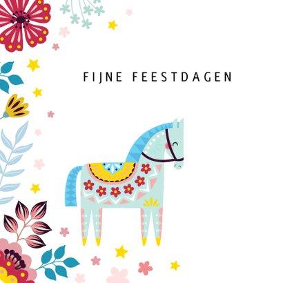 Kerstkaart met kleurrijk paard 2