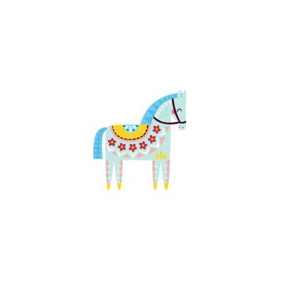 Kerstkaart met kleurrijk paard Achterkant