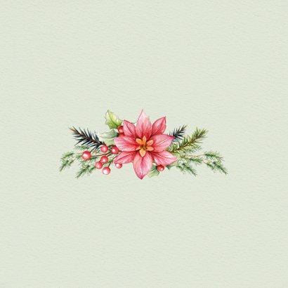 Kerstkaart met krans kerstgroen-rode bessen 2