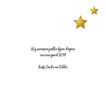 Kerstkaart met letters van goud en hip gewei 3