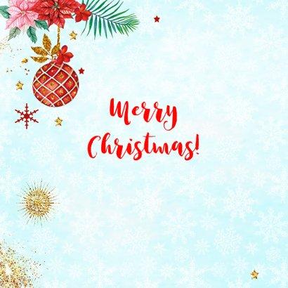 Kerstkaart met luiaard kerstbal 2