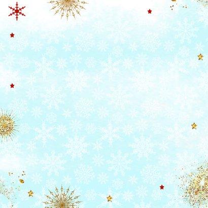 Kerstkaart met luiaard kerstbal Achterkant