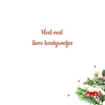Kerstkaart met rode kerstballen klassiek 3