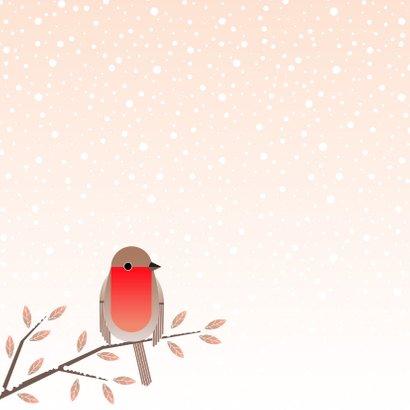 Kerstkaart met roodborstje op winterse takken 2