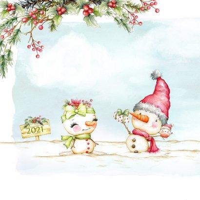 Kerstkaart met sneeuwpop man en vrouw 2