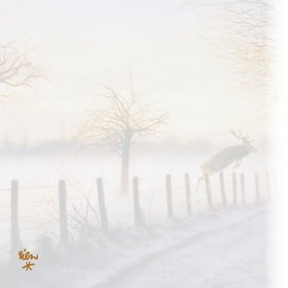 Kerstkaart met springend hert in winterbos 2