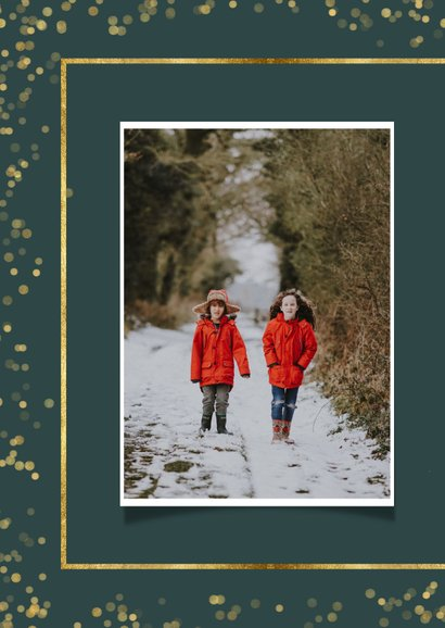 Kerstkaart met twee foto's en goudlook kader 2