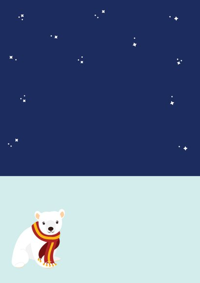 Kerstkaart met vrolijke ijsberen in Kerstiglo Achterkant