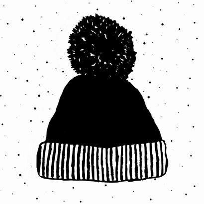 Kerstkaart met warme wintermuts 2