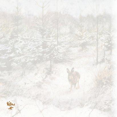 Kerstkaart met wintertafereel 'Haas in winterbos' 2