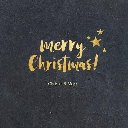 Kerstkaart met zwarte achtergrond en gouden letters 3