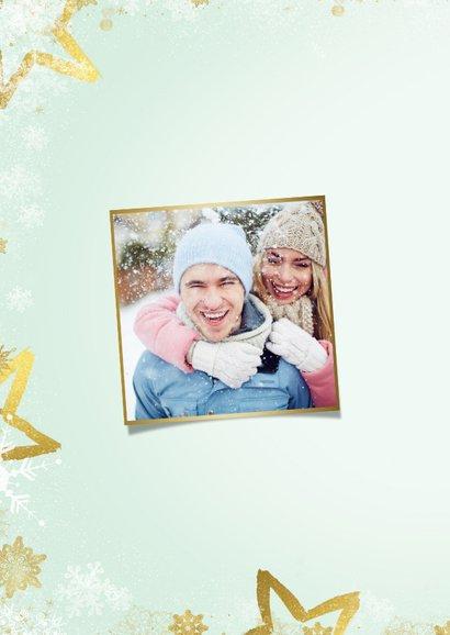 Kerstkaart mintgroen goud kader 'Merry Christmas' 2