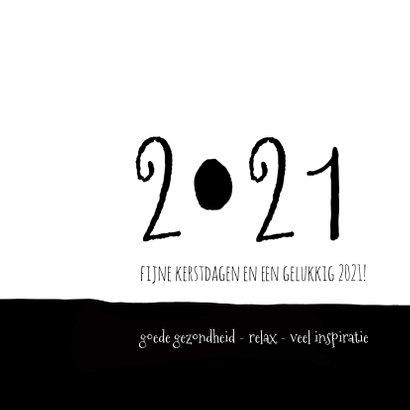 Kerstkaart modern 2020-2021, eenvoudig zwartwit met foto 2