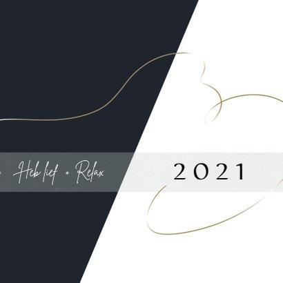 Kerstkaart modern 2020-2021, met sterretjes en goudlook 3