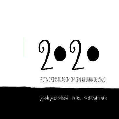 Kerstkaart modern 2020, eenvoudig zwartwit met foto 2