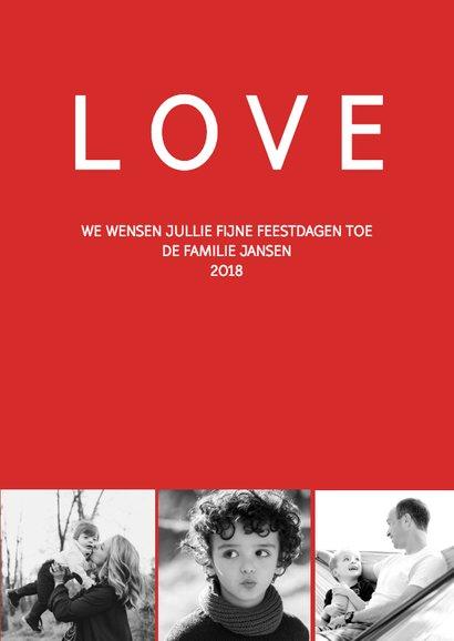 Kerstkaart modern Joy, Love & dennen naalden 3