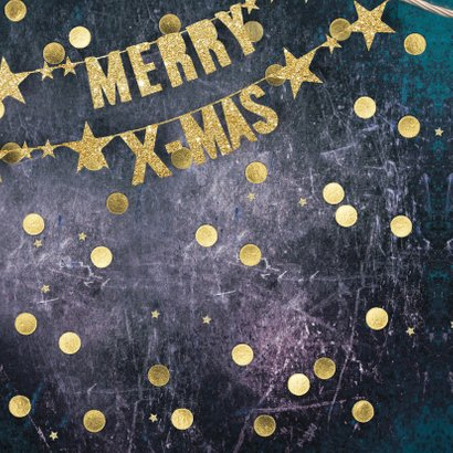 Kerstkaart mooi met gouden slinger 2