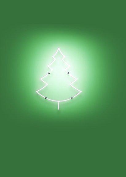Kerstkaart neonlight groen 2