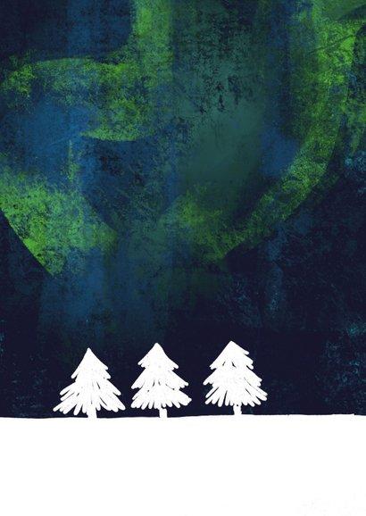 Kerstkaart Noorderlicht lucht 2