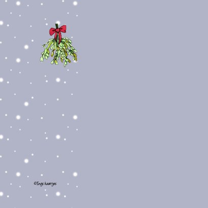Kerstkaart Onder de mistletoe 2