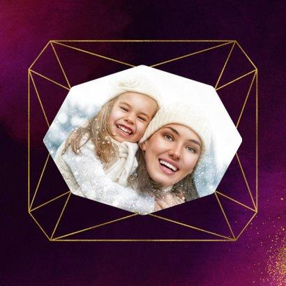 Kerstkaart paars verf met diamantvorm en goudspetters 2