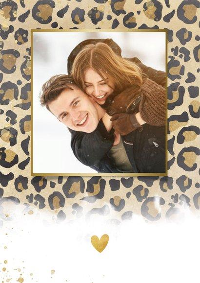 Kerstkaart panterprint, gouden spetters en Merry Christmas 2