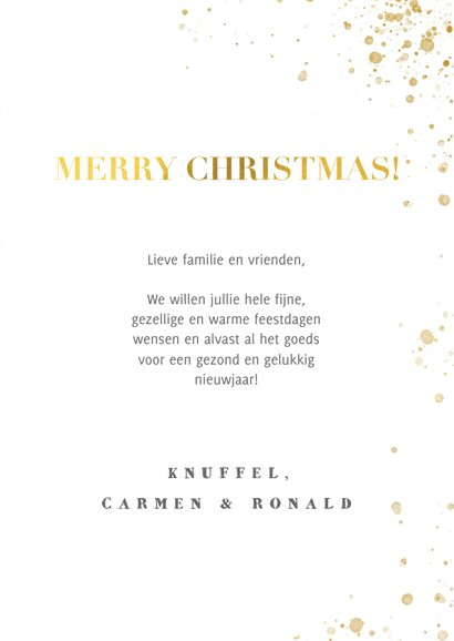 Kerstkaart panterprint, gouden spetters en Merry Christmas 3