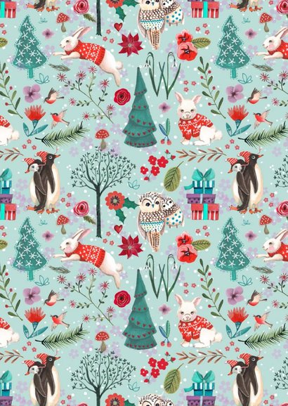 Kerstkaart Penguins in het bos 2