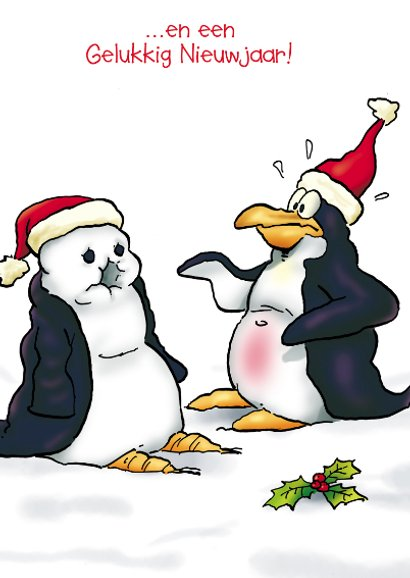 Kerstkaart penguins  Neus - RN 3