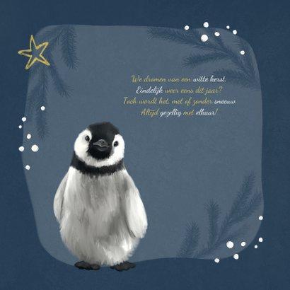 Kerstkaart pinguïn illustratie winter goud sterren 2