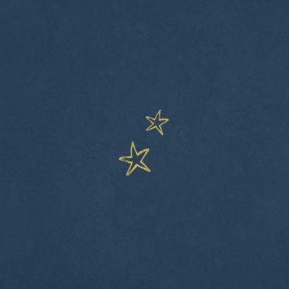 Kerstkaart pinguïn illustratie winter goud sterren Achterkant