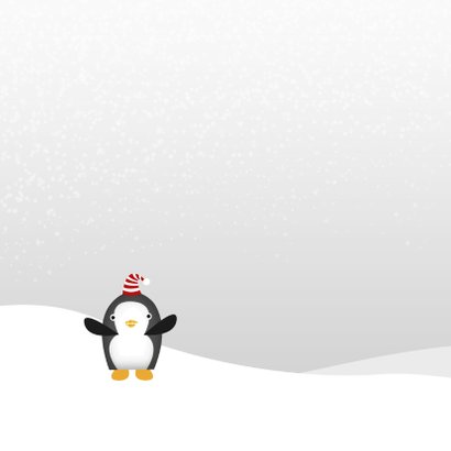 Kerstkaart Pinguin Kerstmuts 2