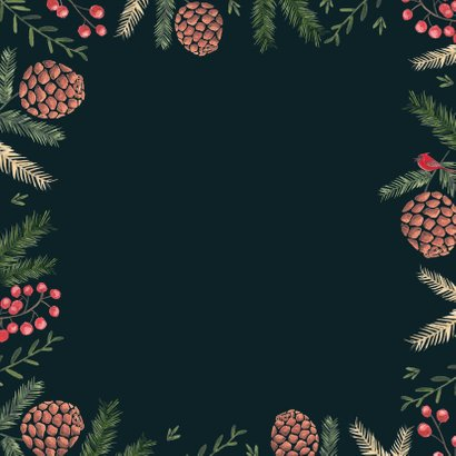 Kerstkaart Prettig Kerstfeest Botanisch Achterkant