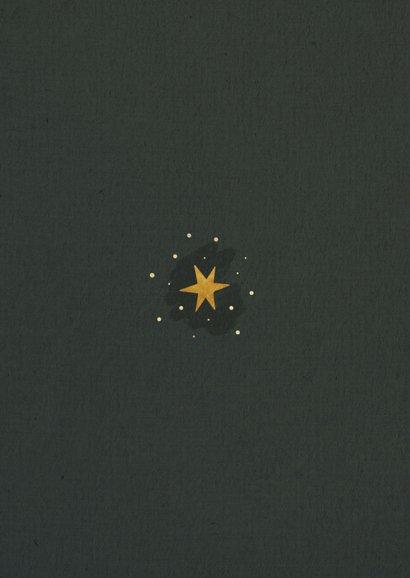 Kerstkaart rendier met sterren en fijne feestdagen Achterkant
