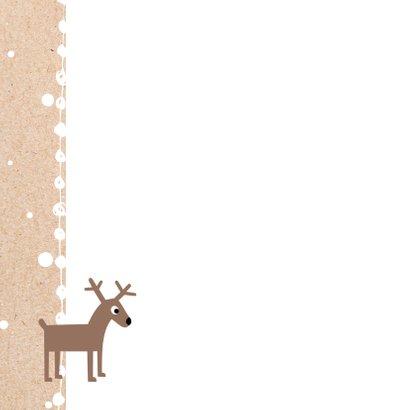 Kerstkaart rendier sneeuw op kraft 2