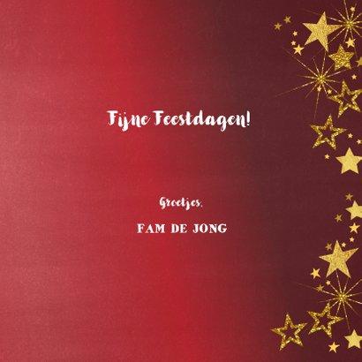 Kerstkaart rode feestelijk fotokaart gouden sterren  3