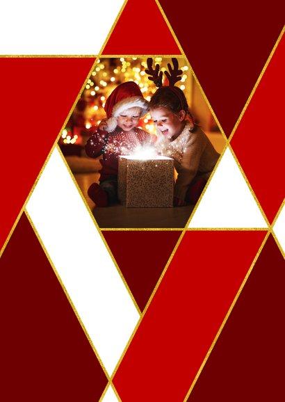 Kerstkaart rode ruiten goud en eigen foto 2