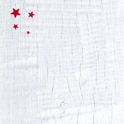 Kerstkaart rode ster wit hout 2