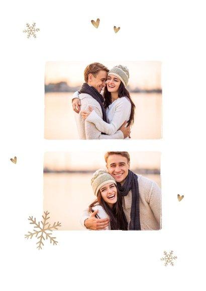Kerstkaart romantisch met sneeuwvlokjes hartjes en foto 2